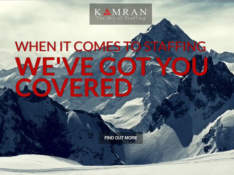 Kamran Staffing home page website by Rodezno Studios