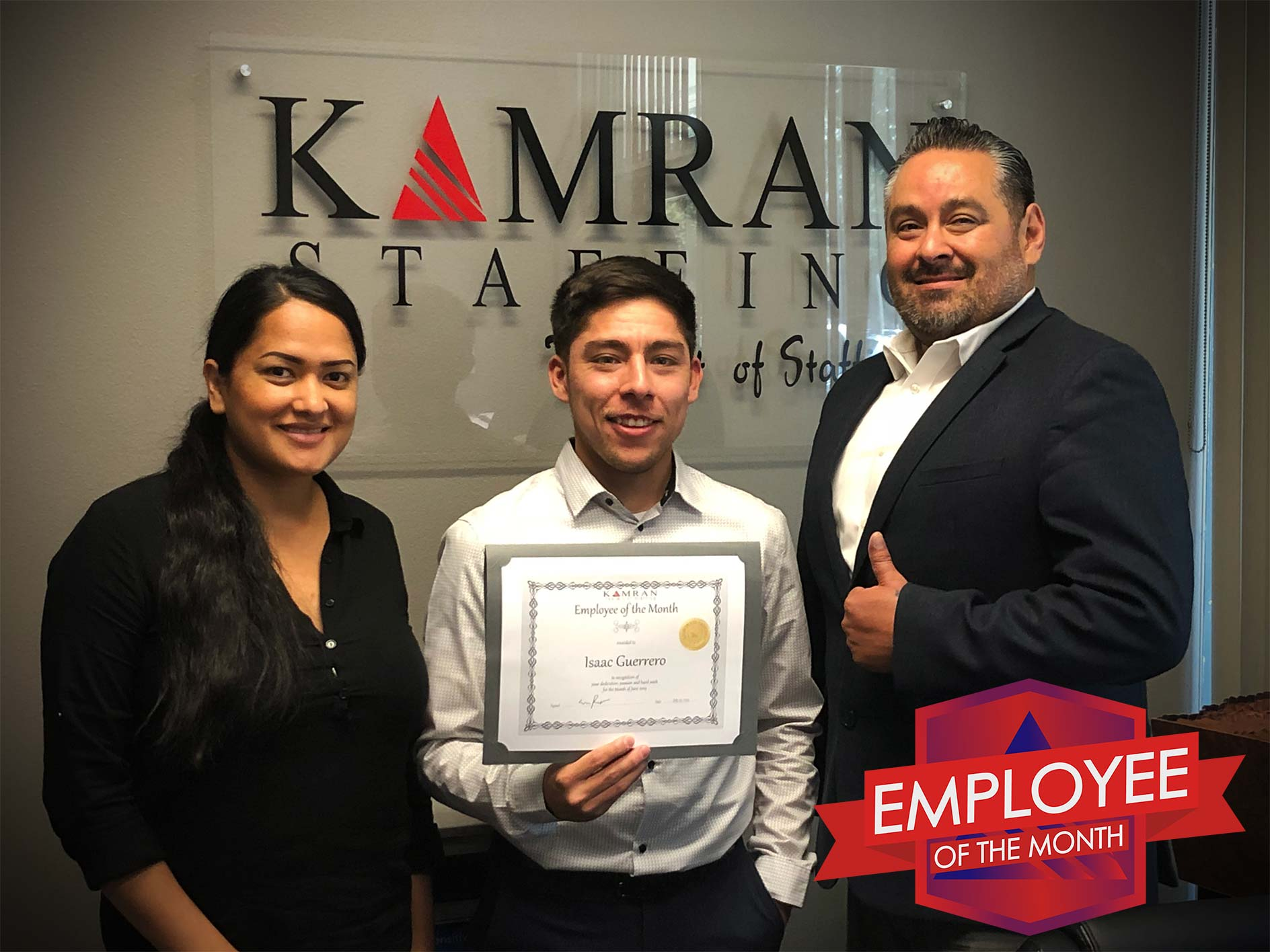 Kamran Staffing, Inc. - Employee of the Month - June 2019 - Isaac Guerrero