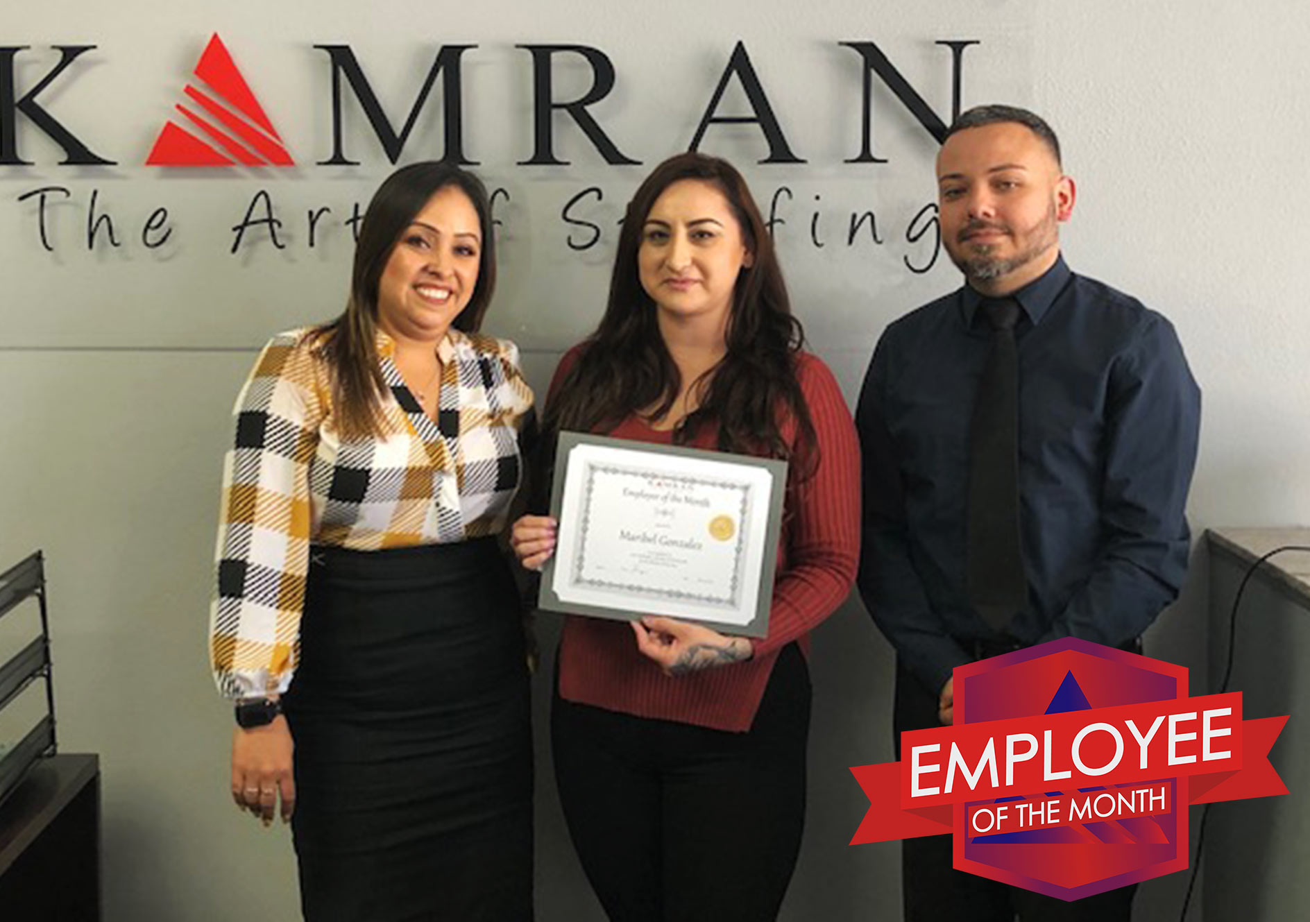 Kamran Staffing Employee of the Month - May 2019 - Maribel Gonzalez