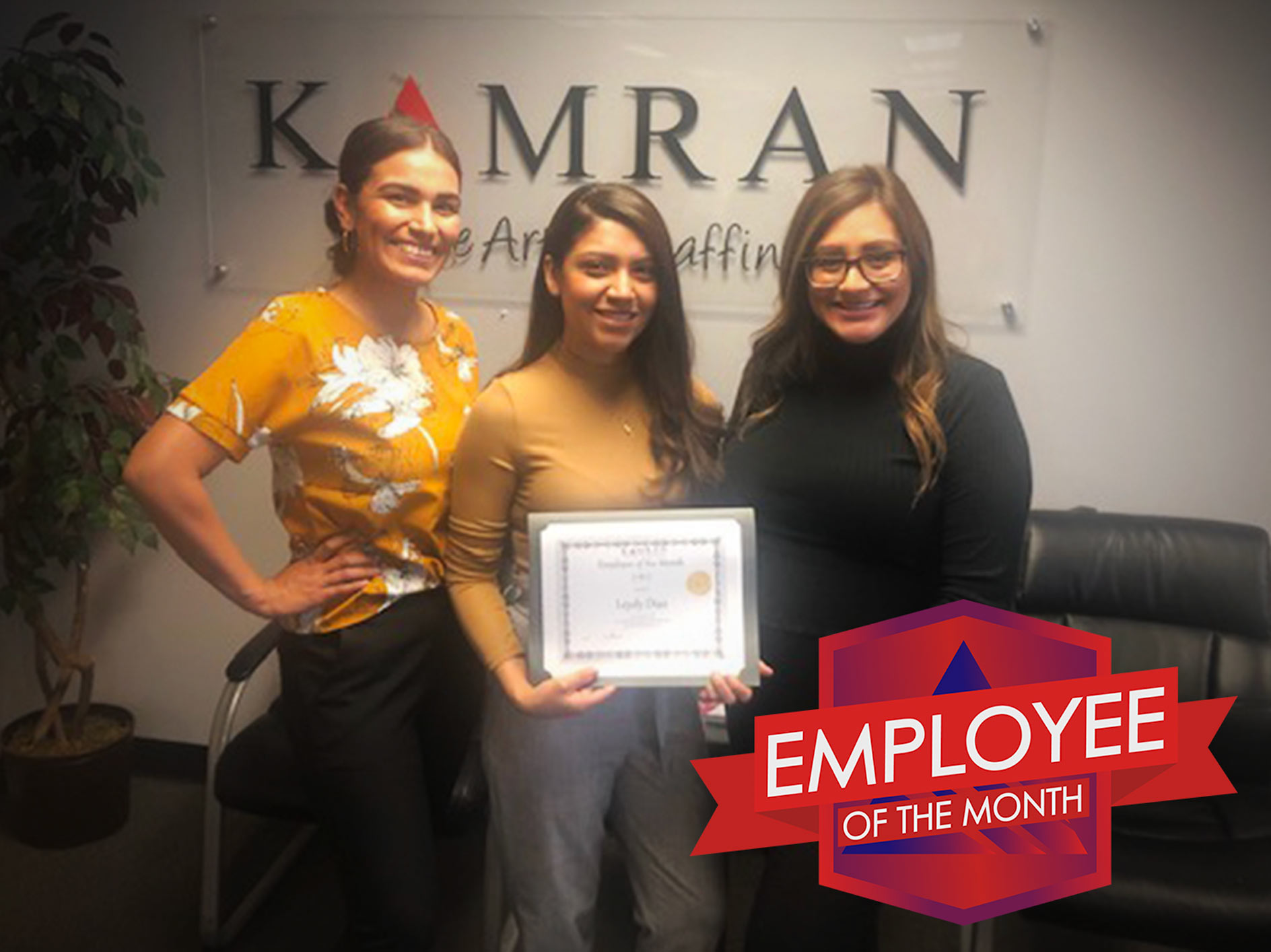Kamran Staffing, Inc. - Employee of the Month - July 2019 - Leydy Diaz