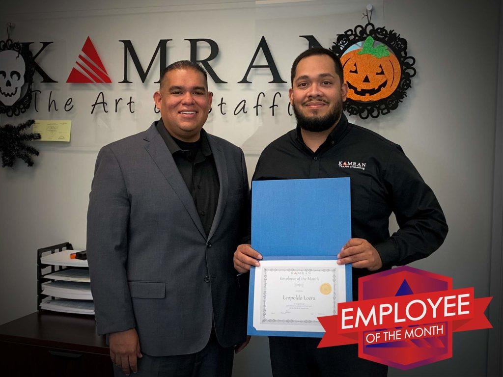 Kamran Staffing, Inc. - Employee of the Month - August 2019 - Leo Loera