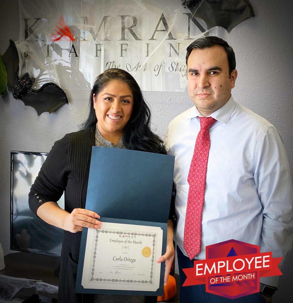 Kamran Staffing, Inc. - Employee of the Month - September 2019 - Carla Ortega
