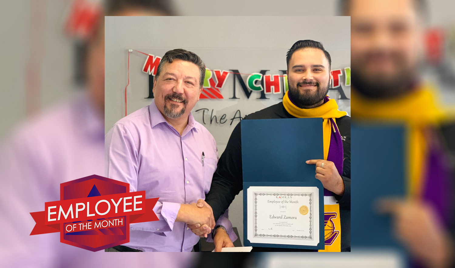 Kamran Staffing, Inc. - Employee of the Month - November 2019 - Edward Zamora shaking hands with Robert Sosa