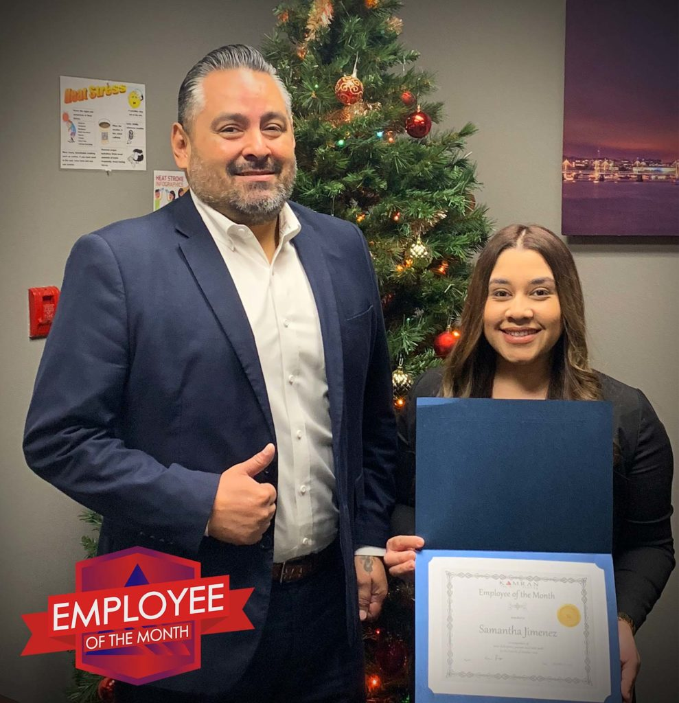 Kamran Staffing, Inc. - Employee of the Month - October 2019 - Samantha Jimenez