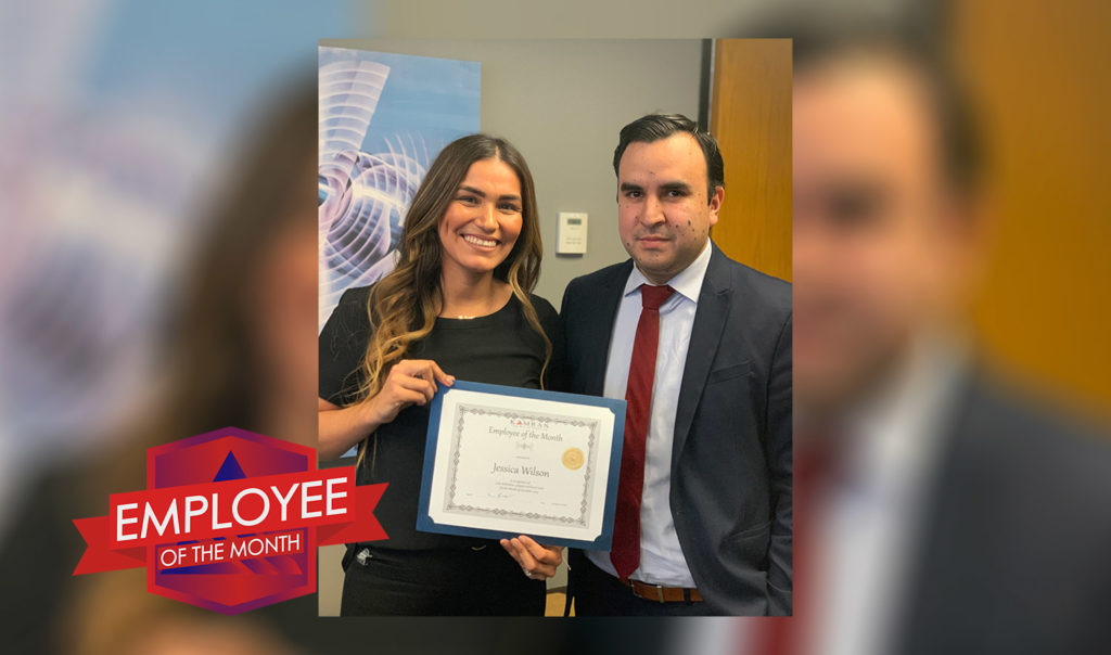 Kamran Staffing, Inc. - December 2019 - Employee of the Month - Jessica Wilson accepting her award certificate with Elias Ruiz