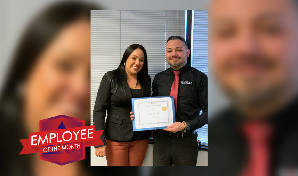 Kamran Staffing, Inc. - January 2020 - Employee of the Month - Alex Garcia accepting his award certificate with Regional Manager Luz Zapata