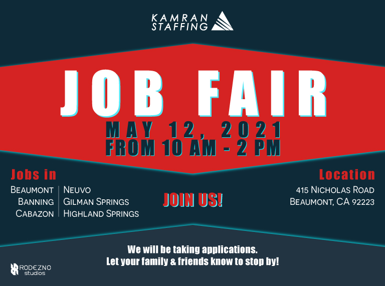 Kamran Staffing - Beaumont - Job Fair - May 12th 2021 - design by Rodezno Studios