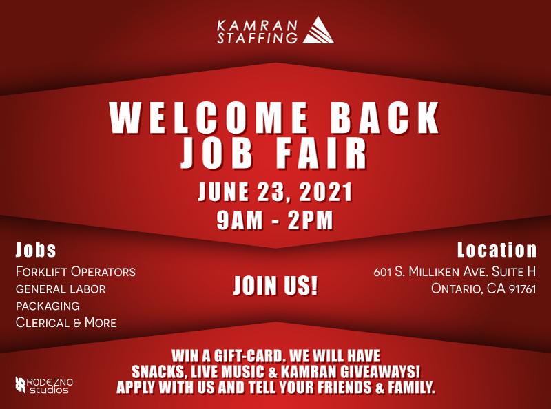 Kamran Staffing - Welcome Back Job Fair - Ontario - June 23rd 2021 - design by Rodezno Studios