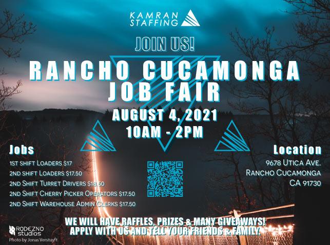 Kamran Staffing Ontario - Rancho Cucamonga Job Fair - August 4th 2021 - design by Rodezno Studios