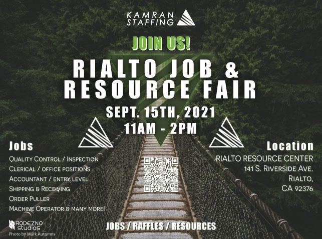 Kamran Staffing Rialto - Job and Resource Fair - September 15th 2021 - design by Rodezno Studios