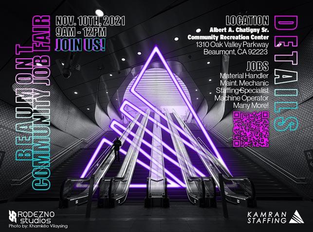 Kamran Staffing Moreno Valley - Beaumont Community Job Fair - November 10th 2021 - design by Rodezno Studios